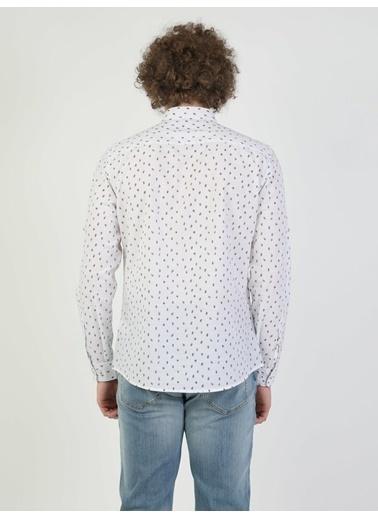 Colin's Slim Fit Uzun Kol V Yaka Erkek Gömlek Uzun Kol Beyaz